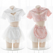 Sexy Lolita Girls 2Pcs Set Cheongsam Cosplay Women's Love Hollow Out Short Tops   Mesh Tutu Suit 2 Colors Lingerie Set
