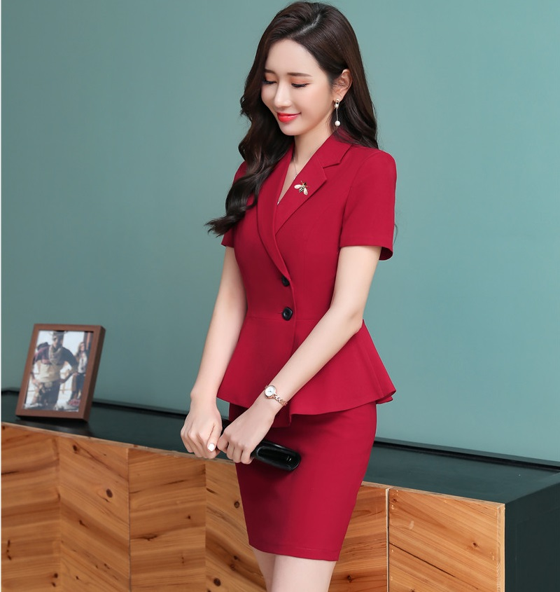 2019 Summer Fashion Red Business Suits 2 Piece Sets With Tops And Skirt For Ladies Office Uniform Styles Women Blazers