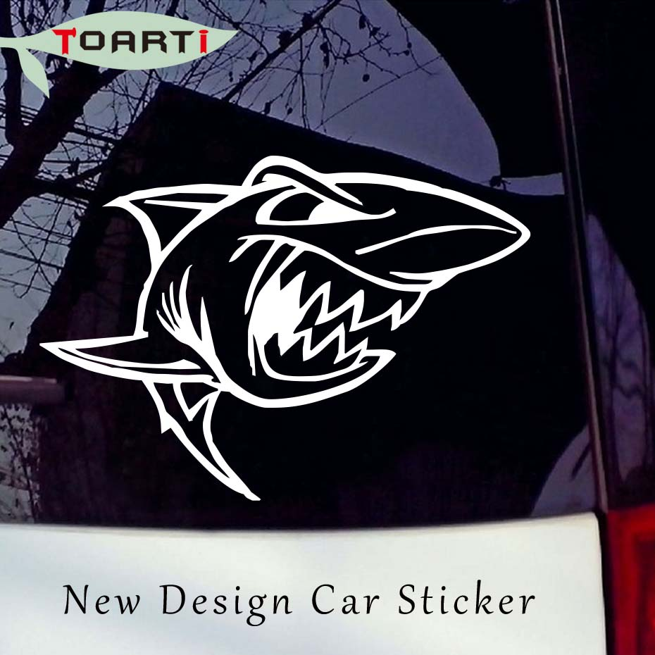 Sticker design for car online - 15 3 11 Cm A Mad Shark Sticker Self Adhesive Decal For Car Funny Bumper Car
