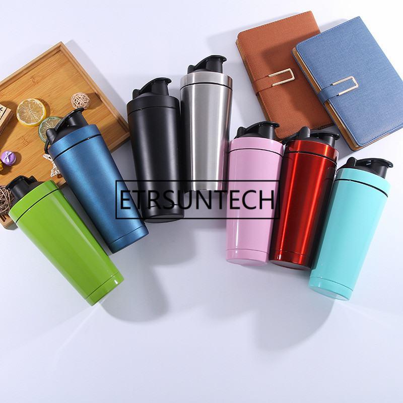 50pcs 500ml 720ml  shaker Bottle Double Wall Stainless Steel Gym Shaker Kettle Sport Milkshake Mixer Water Bottle Whey Protein Shaker Bottles     -