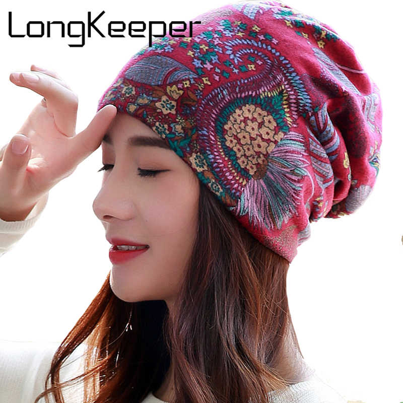 LongKeeper 6 Cores Mulheres Gorros Caps Mulheres Primavera Beanie Chapéu Para As Mulheres Caps 3 Way To Wear Capô