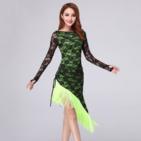 High Quality Adult Contest Costume Tassels Latin Dance Skirt Autumn And Winter New Long Sleeve Latin