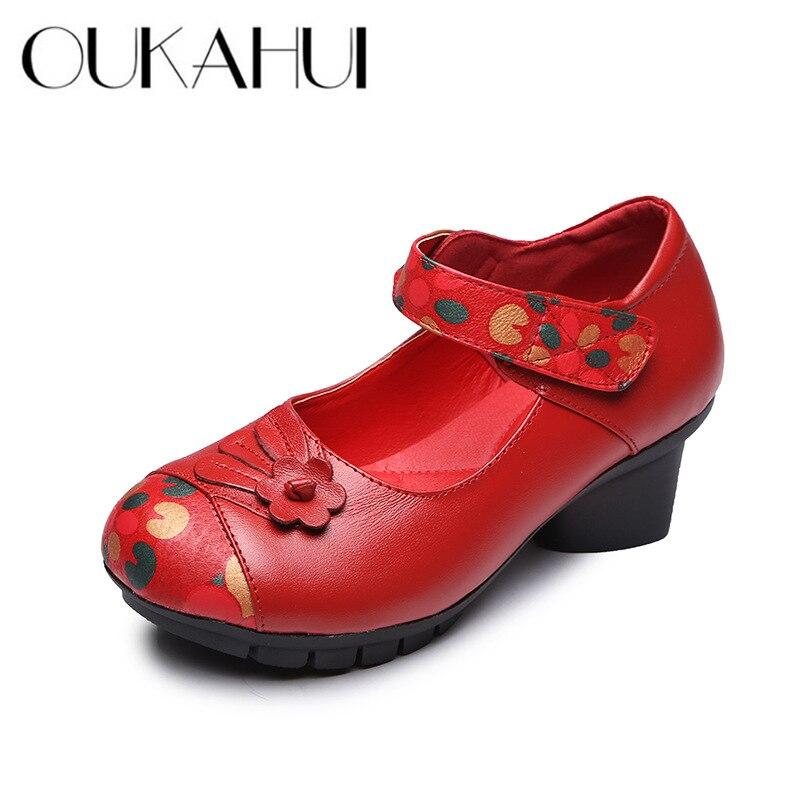 Épais Cuir En Talons Cm 8656 Main Mode Talon Élégantes Chinois Oukahui Hauts 8656 La red Dames Style Black Chaussures Automne Véritable À 41 Pompes Femmes 5 0OU8q