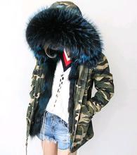 Free DHL 5-7 2017 Army Green Parka Coats Real Large Raccoon Fur Collar Fox Fur Lining Hooded Outwear