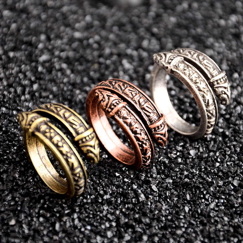 1 pcs Vintage adjustable Norse Viking Rune Dragon Ring Elder Futhark Snake Ring Men Punk Nordic Amulet Jewelry Christmas Gift