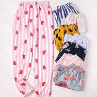 cotton women pejamas household wide legged pants worn out in summer COTTON PAJAMA pants, artificial silk trousers and jackets