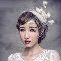 Roupa do laço do Vintage de chapéus com véu 2015 pérolas de casamento chapéus de noiva véus para noivas acessórios tocados de novia H1