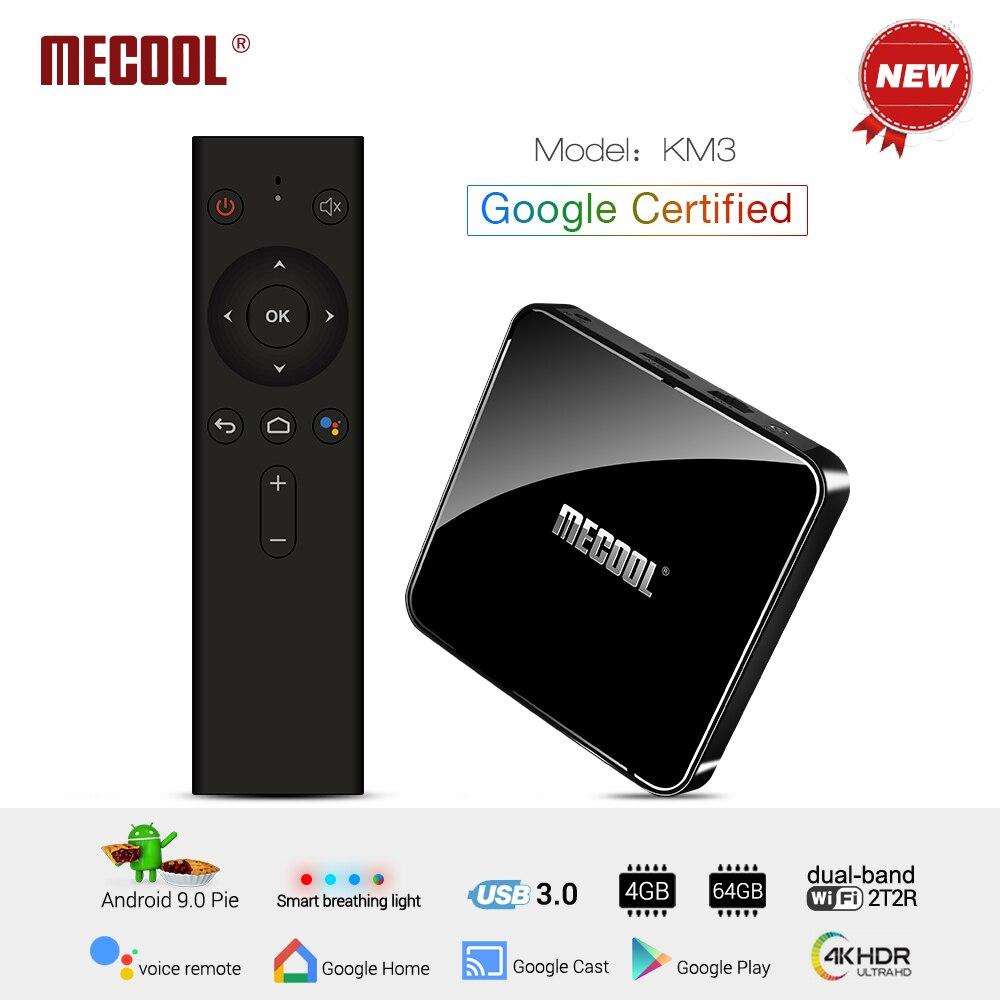 MECOOL KM3 Android 9.0 TV Box 4GB DDR4 RAM 64GB ROM Google Certified Android TV Box USB 3.0 Set Top TV Box 4K Media PlayerMECOOL KM3 Android 9.0 TV Box 4GB DDR4 RAM 64GB ROM Google Certified Android TV Box USB 3.0 Set Top TV Box 4K Media Player