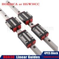 Darmowa wysyłka 2pc HGR30 prowadnica liniowa dowolna długość + 4pc liniowy blok przewozu HGH30CA/flang HGW30CC HGH30 CNC części w Prowadnice liniowe od Majsterkowanie na