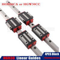 Free shipping 2pc HGR30 linear guide rail any length + 4pc linear block carriage HGH30CA / flang HGW30CC HGH30 CNC parts