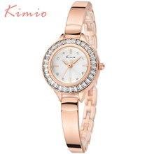 Diseño de Moda KIMIO Cuarzo de Las Mujeres Relojes de Marca de Lujo de Oro Rosa Relojes Para Damas Elegantes Diamantes de Cristal Mujer Relojes 2016