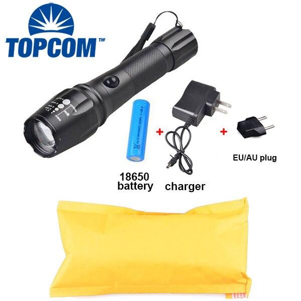 Tomcom Новое поступление Перезаряжаемые мощный светодиодный фонарик тактический фонарик, аккумулятор 18650 и смены включены