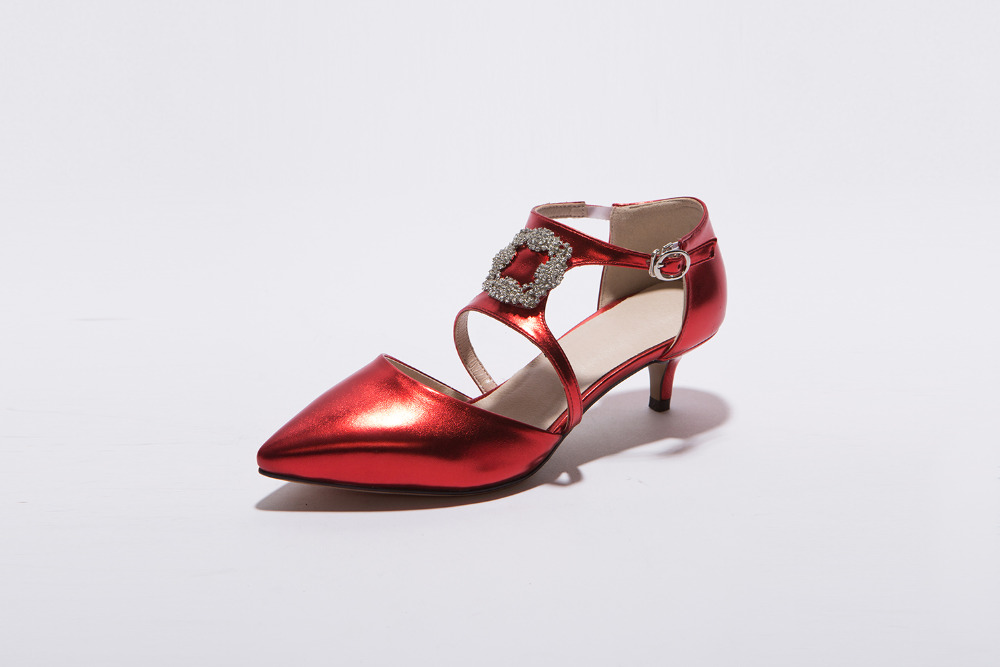 PQECFS Big size 32-43 high quality hot sale women solid cut-outs & sequined med heels sandals 5 colors