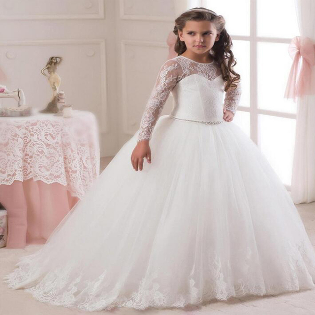 Long Sleeve Pageant Dresses for Girls Glitz Ball Gown Girl Wedding ...