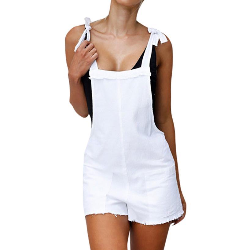 Free Ostrich High Waist Denim Women Suspender Trousers Summer Lady Female   Jumpsuit   Loose Casual Short Jeans Feminino D2335