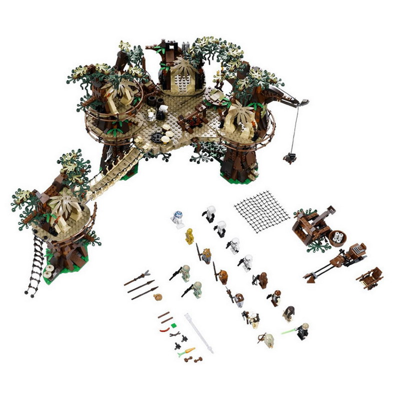 LEPIN 05047 Star Wars Ewok Village Figure Blocks Educational Construction Building Bricks Toys For Children Compatible Legoe ausini95 automatic rifle military arms building blocks educational toys for children plastic bricks best friend legoe compatible
