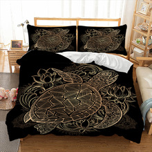Wongs bedding Turtles Bedding Set Duvet Animal Golden Tortoise Bed Cover Set Queen Sizes Flowers Lotus Home Textiles 3pcs Luxury