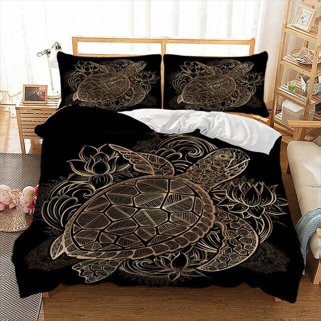 Wongs الفراش السلاحف طقم سرير لحاف الحيوان الذهبي السلحفاة طقم ملاءة سرير الملكة أحجام الزهور اللوتس المنزل المنسوجات 3 قطعة الفاخرة