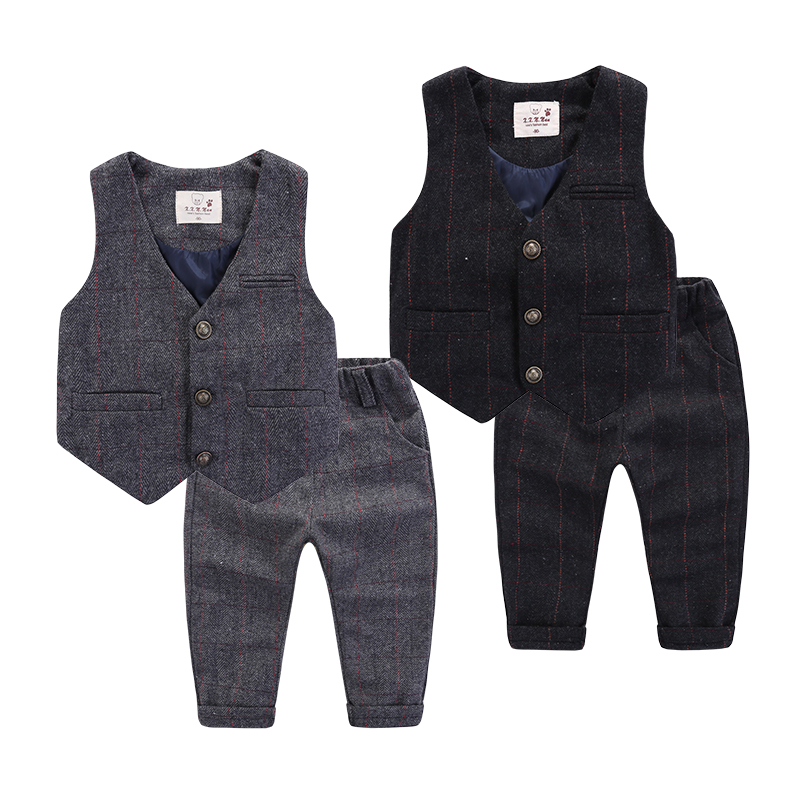 Children's Sets Suits Blazers Vests+Pants Boy party dress flower flower dress Children's grid set Boy Pants Kids Waistcoats clot grid carrot pants