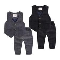 Children's Sets Suits Blazers Vests+Pants Boy party dress flower flower dress Children's grid set Boy Pants Kids Waistcoats clot