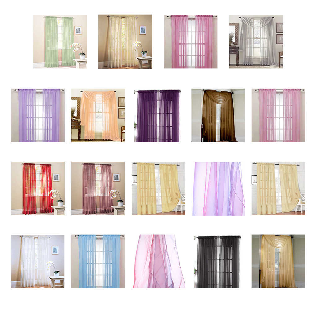 New Solid Color Voile Sheer Curtain Panel Window Curtains 100*200cm Pink Yellow Refinement