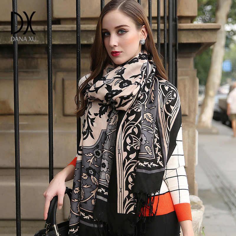 Bufanda de invierno 2019 cachemir bufanda de mujer a cuadros manta bufanda nuevo diseñador de lana y seda chales básicos para mujer bufandas cara escudo