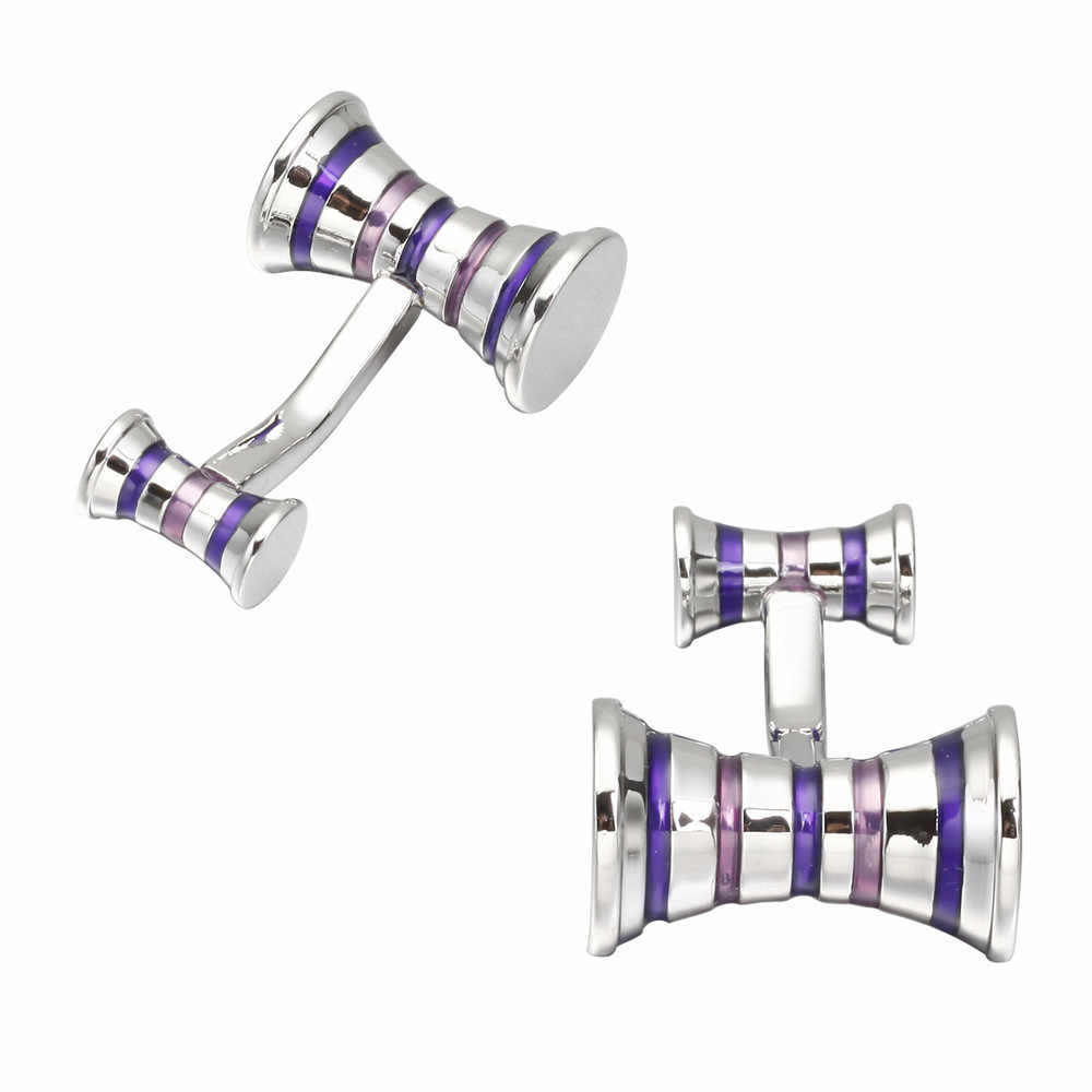 MeMolissa Новые запонки двухсторонний дизайн полосатый фиолетовый медный материал индивидуальность Gemelos Para Camisas мужские ювелирные изделия
