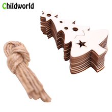 10PCS/Lot Christmas Wooden Pendant DIY Prom Decoration Home Holiday Hanging Decorations for