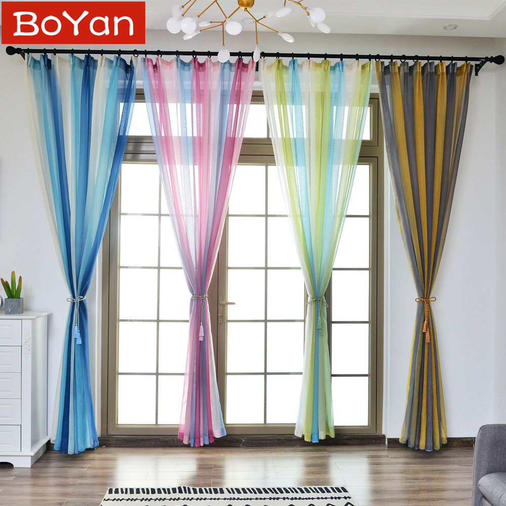 4 Colors Tulle Curtains Printed Gradient Kitchen Decor
