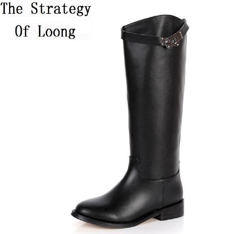 2017 зима Новый колено высокие Натуральная кожа низком каблуке женщин длинные сапоги Леди мода пряжки Рыцарь сапоги SXQ0713