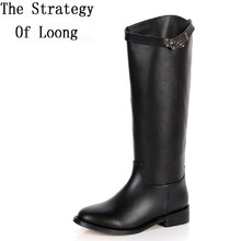 2017 Winter New Knee High Genuine Leather Low-heeled Women Long Boots Lady Fashion Buckle Knight Boots SXQ0713