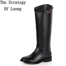 2017 Новинка зимы до колена натуральная кожа на низком каблуке женские ботинки с высоким голенищем Модные женские пряжкой рыцарские сапоги SXQ0713