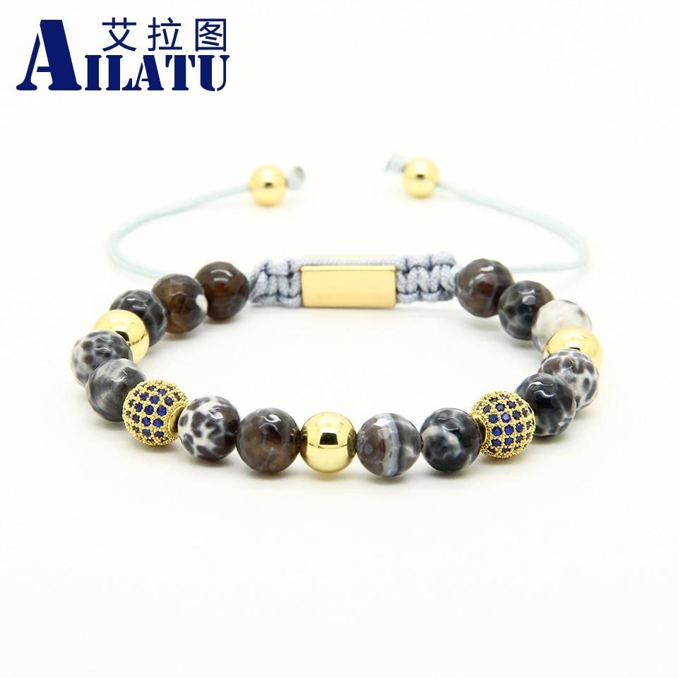 Ailatu Mens Jewelry Wholesale 10pcs lot 8mm Natural Faceted Grey Veins Onyx Stone Beads Blue Cz