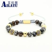 Ailatu Mens Jewelry Wholesale 10pcs/lot 8mm Natural Faceted Grey Veins Onyx Stone Beads Blue Cz Beads Macrame Bracelet