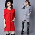 Venda quente Nova Moda Inverno 2016 Casual Pullovers Mulheres Malha Vestidos de Manga Longa Quentes Fino Grosso Vestido de Camisola do Crochet da Mão
