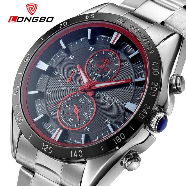 LONGBO Watch full stainless steel water resistant men table sports luminous quartz watch lager size male watch 80007