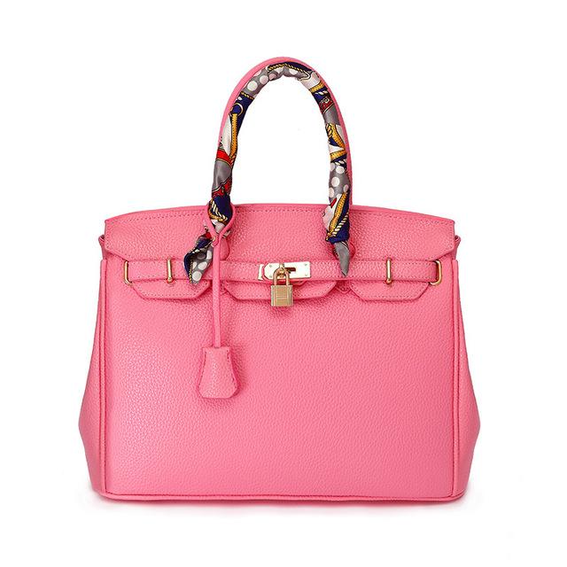 Designers High quality PU leather handbag with gold lock scarf woman bags fashion