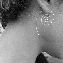 E05 Spiral Ethnic Tribal Hoop Earring Unique Design 1 Piece Earring Fashion Women's Jewelry Piercing Earrings Hot Sale Wholesale