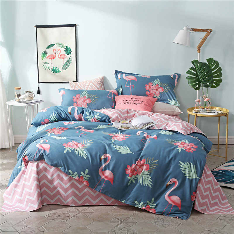 Flamingo 4pcs Girl Kid Bed Cover Set Cartoon Duvet Cover Adult Child Bed Sheets And Pillowcases Comforter Bedding Set 2TJ-61002