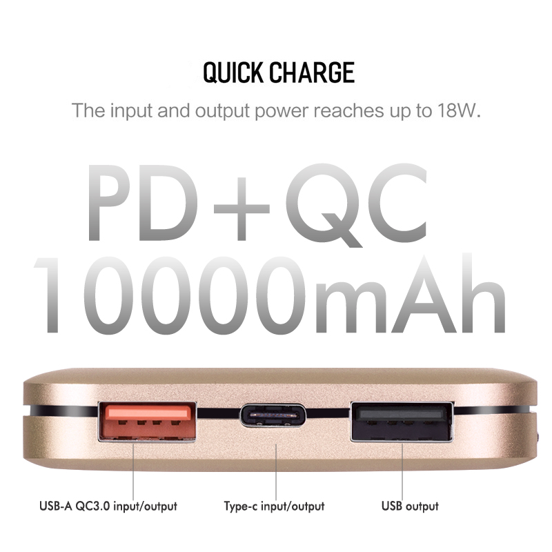 USB Type C Power Bank 10000mAh for Xiaomi Portable External Battery Charger Ultra Slim Powerbank for iphone X Samsung Note 8 S8 dual usb output universal thunder power bank portable external battery emergency charger 13000mah yb651 yoobao for electronics
