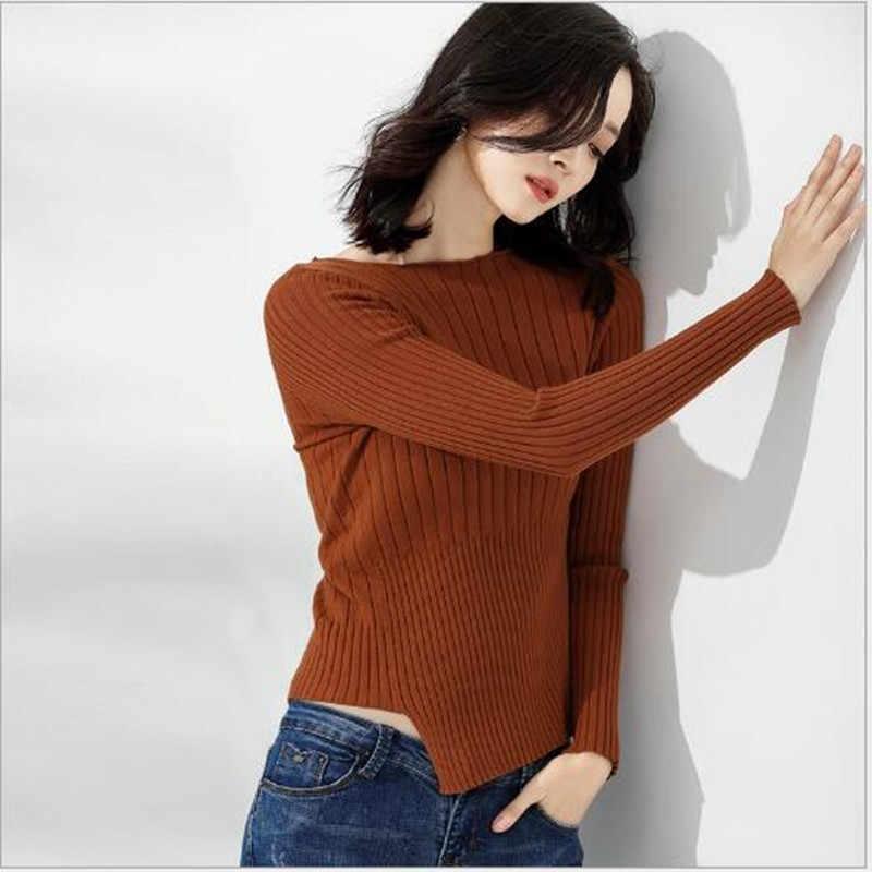 Không đối xứng từ cổ áo mùa thu và mùa đông áo len nữ đoạn ngắn Slim khí đáy áo sơ mi dài tay áo áo thun