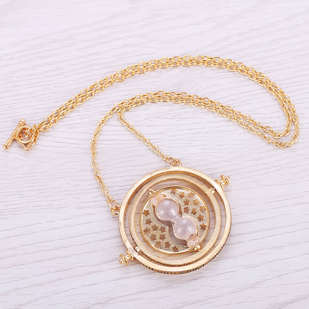 Wholesale 20pcs a Lot Harry Pendant Time Turner Necklace Hourglass Potter Necklace Hermione Granger Rotating Spins