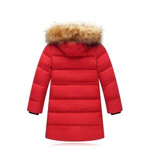 Image 5 - Модная детская куртка на утином пуху 2019, длинная толстая зимняя куртка с воротником из натурального меха, Детское пальто для девочек, теплая верхняя одежда для холодной зимы