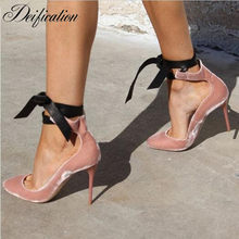 Deification Lace Up Bowtie Ballerina High Heels 2018 Pink Velvet Leather  Designer Shoes Women Luxury Wedding Party Bridal Shoes 07d4dd7ca267