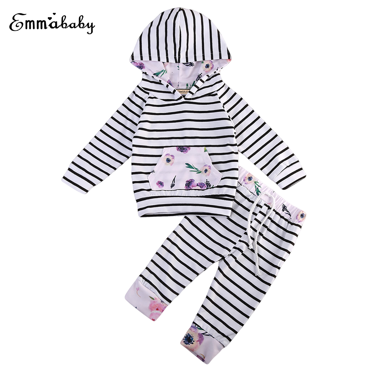 Spring Autumn Fashion Newborn Baby Boy Girls Stripes Clothes Sets Floral Long Sleeve Hooded Tops Pants 2pcs Outfits Set Clothes