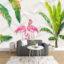 Nordic wallpaper small fresh tropical rainforest banana leaves flamingo background wall high-grade mural