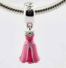 2016 Primavera Nueva Esterlina SilverBead Disny Aurora Vestido de Rosa Del Esmalte de los Granos DIY Pulsera Europea Apta Del Encanto Del Grano Al Por Mayor