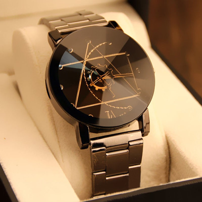 New Fashion Brand Round Dial Black Couple Watch Men Luxury Stainless Steel Casual Quartz Watches Relogio Masculino Clock Hot bgg brand creative two turntables dial women men watch stainless mesh boy girl casual quartz watch students watch relogio