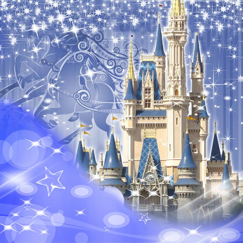 8x8ft Light Blue Glitter Sparkles Castle Palace Princess Flags