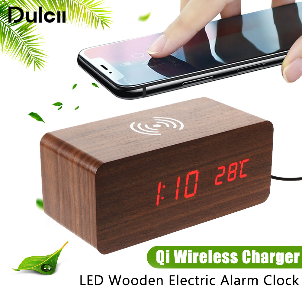 Dulcii Qi Wireless Charger For iPhone X 8 Charging Wooden LED Alarm Clock Sound Control Qi Wireless Charger for Samsung S9 S8